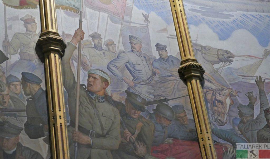 """Kaplica polska. Fragment fresku """"Cud nad Wisłą"""""""