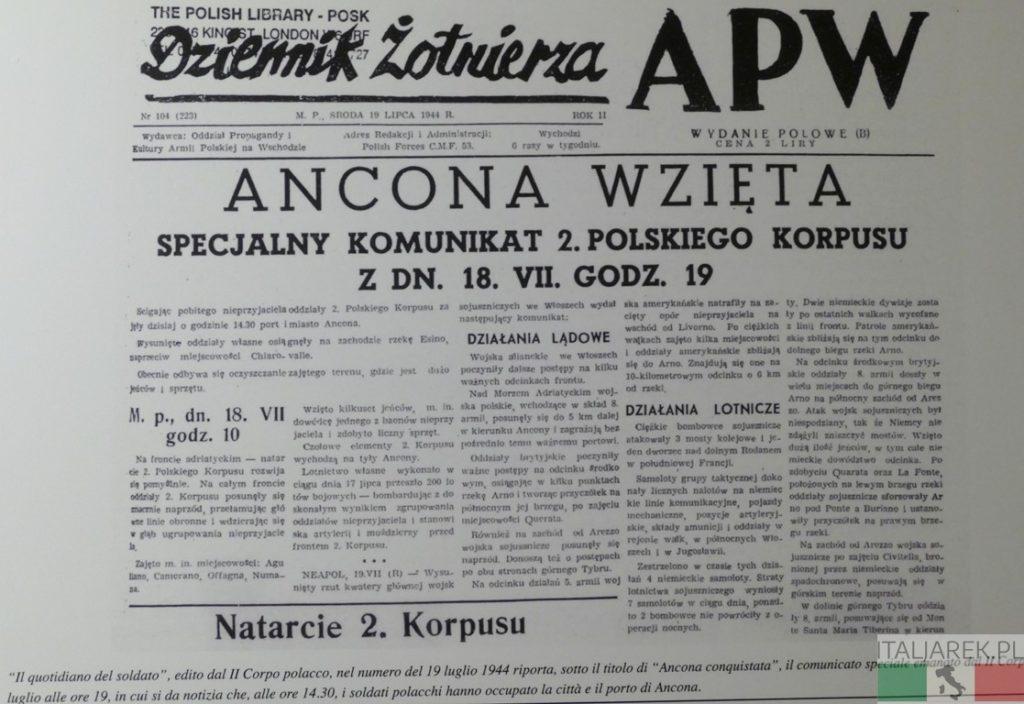 Komunikat o zajęciu Ankony
