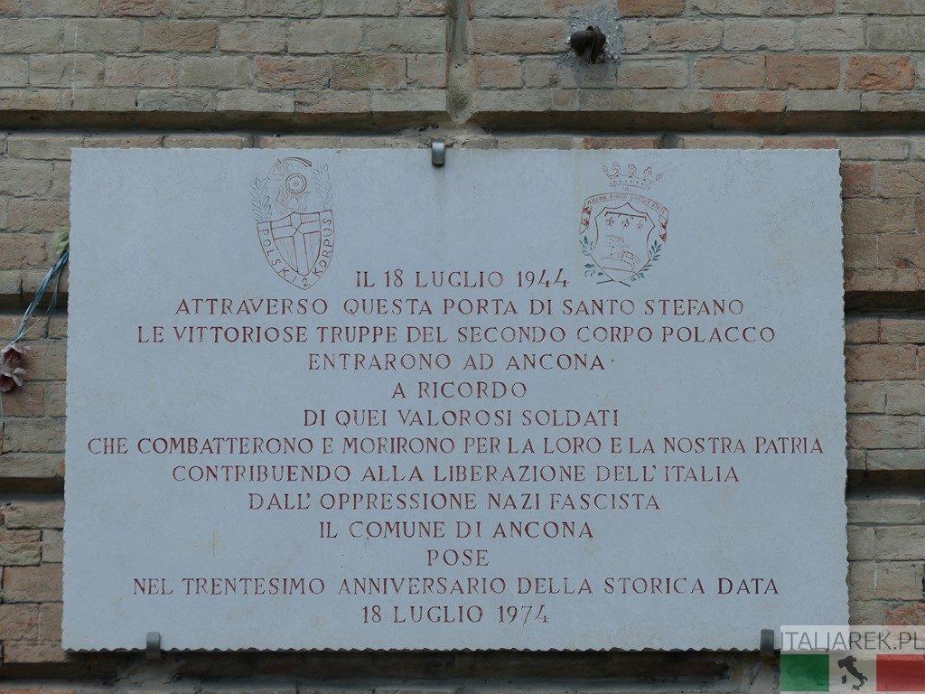 Ancona - tablica upamiętniająca 2 Korpus Polski