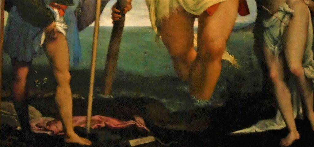 Święty Krzysztof ze św. Rochem i św. Sebastianem - fragment
