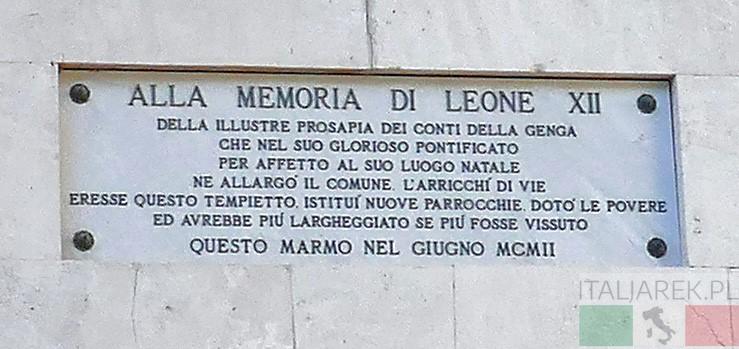 Tablica upamiętniająca papieża Leona XII