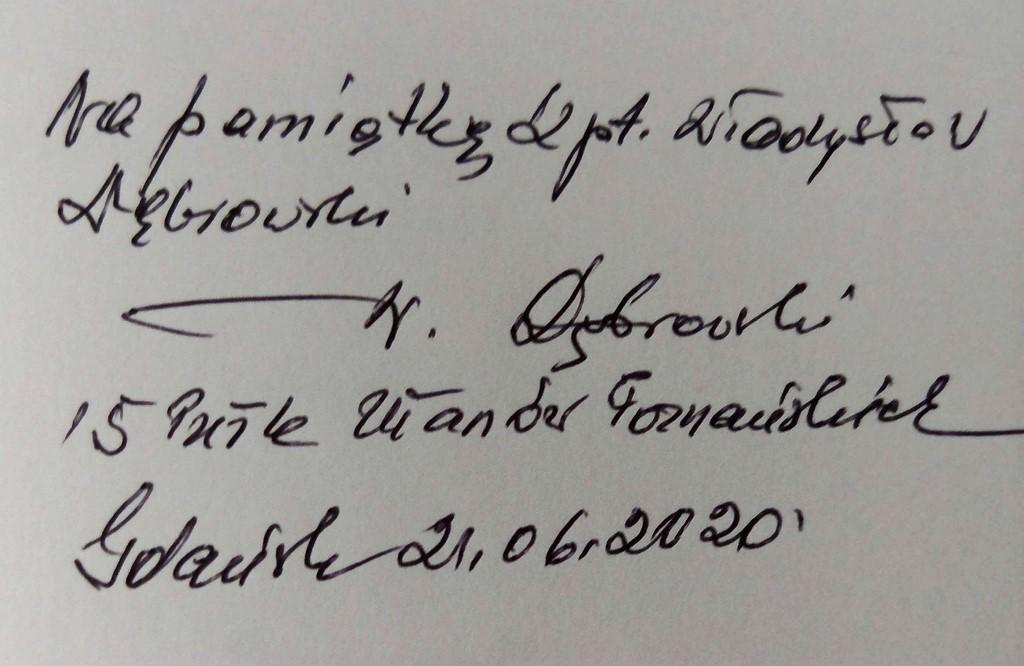 Wpis kapitana Władysława Dąbrowskiego