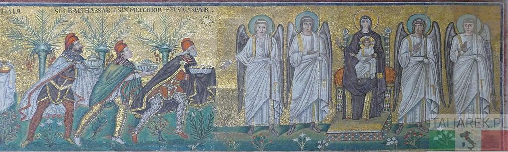 Trzech Króli niesie dary Maryi z Dzieciątkiem