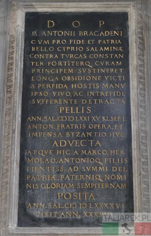 Bazylika Zanipolo tablica ku czci Bragadina